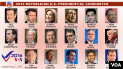 The 2016 Republican Party U.S. presidential candidates.