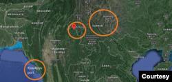 Vị trí của cảng Kyaukpyu và khu vực Kokang của Miến Điện, tiếp giáp Yunnan [Vân Nam] của Trung Quốc.