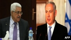 Tổng thống Palestine Mahmoud Abbas và Thủ tướng Israel Benjamin Netanyahu (phải)