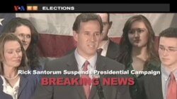 VOA60 Elections Breaking News - Santorum suspends campaign