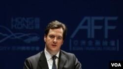 Menteri keuangan Inggris, George Osborne berpidato dalam pertemuan para pejabat dan eksekutif keuangan Asia (AFF) di Hong Kong (16/1).