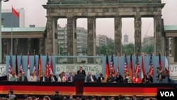 Former U.S. President Ronald Reagan in front of the Brandenburg Gate in West Berlin, on June 12, 1987