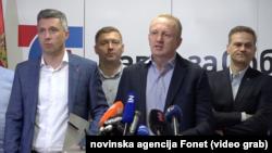 Opozicioni blok Savez za Srbiju na konferenciji za štampu, Foto: video grab