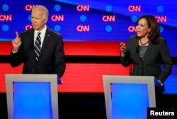 Joe Biden e Kamala Harris em debate a 31 de julho 2019
