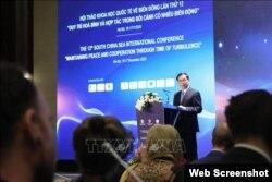 Thứ trưởng Thường trực Bộ Ngoại giao Việt Nam Bùi Thanh Sơn phát biểu tại Hội thảo. Photo TTXVN via DAV