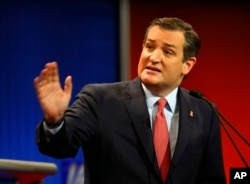 Republican presidential candidate, Sen. Ted Cruz, R-Texas, argues a point during a Republican presidential primary debate at Fox Theater, Thursday, March 3, 2016.