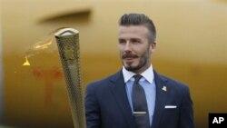 Beckham berharap bisa terpilih memperkuat kesebelasan Inggris dalam Olimpiade London (foto, 18/5/2012).
