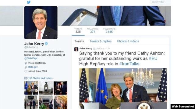 پیام قدردانی جان کری وزیر خارجه آمریکا در توئیتر از اقدامات کاترین اشتون مسئول سیاست خارجی اتحادیه