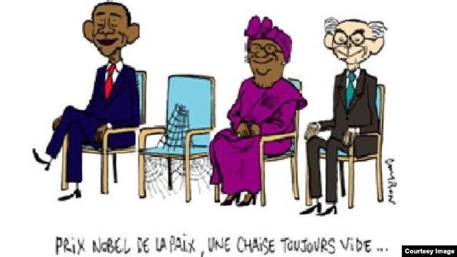 """""""诺贝尔奖 - 那个椅子仍然空着…""""(照片来源:记者无国界)"""