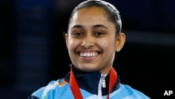 Indian gymnast Dipa Karmakar at the 2014 Commonwealth Games.