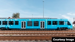 The new Coradia iLint hydrogen-powered train, recently launched as the first of its kind in the world, is seen on the tracks in northern Germany. (René Frampe/Alstom)