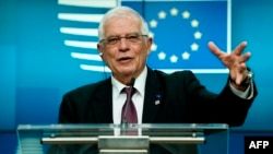 برسلز میں اجلاس کے بعد یورپی یونین کے وزرائے خارجہ کے ترجمان کی اخباری کانفرنس۔