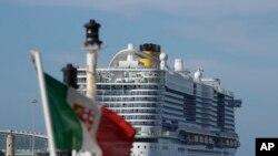 The Costa Smeralda cruise ship is docked in the Civitavecchia port near Rome, Jan. 30, 2020.