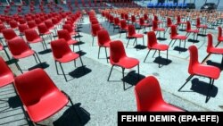BOSNIA-HERZEGOVINA - A view of chairs set apart at a certain distance due to coronavirus in an open-air cinema for the 26th Sarajevo Film Festival, in Sarajevo, 29 July 2020.