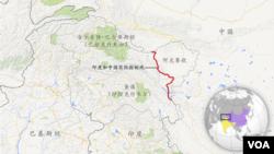 中国印度实际控制线,含中国和田地区 (阿克赛钦)、巴控克什米尔 (吉尔吉特-巴尔蒂斯坦) 和印控克什米尔 (查谟)