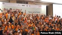 """Ratusan anak dari 31 daerah di Indonesia berkumpul dalam """"Temu Anak Peduli, Pusparagam Anak Indonesia,"""" di Surabaya, Sabtu (22/7/2018)."""