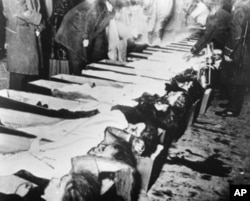 Bodies of the victims of the Triangle fire are lined up for identification at a New York morgue.