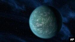 Wannan hoton, zane ne na yadda masana kimiyya suke tsammanin duniyar Kepler-22b zata iya kasancewa.