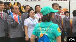 北韓代表團2017年8月17日到達台北世大運開幕儀式現場(美國之音黎堡攝)