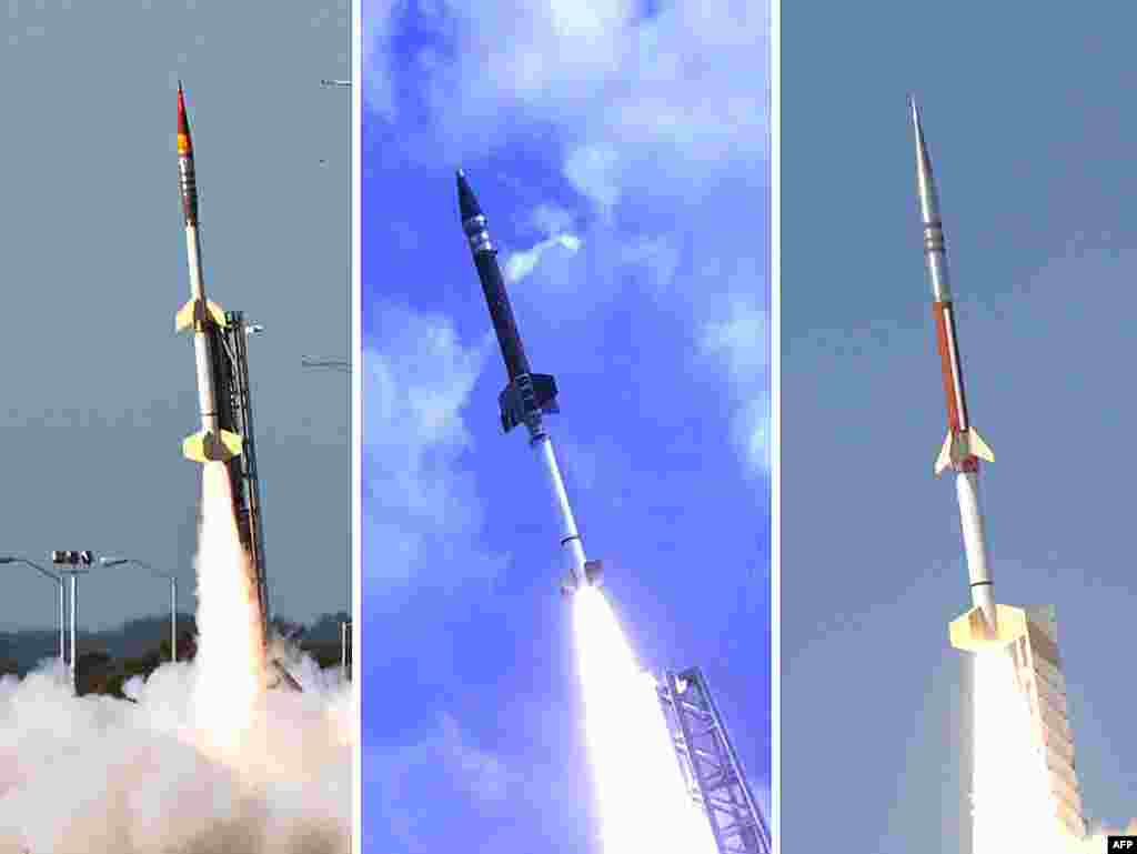NASA successfully launched five suborbital sounding rockets from its Wallops Flight Facility in Virginia as part of a study of the upper level jet stream, March 27, 2012. (NASA/Wallops)