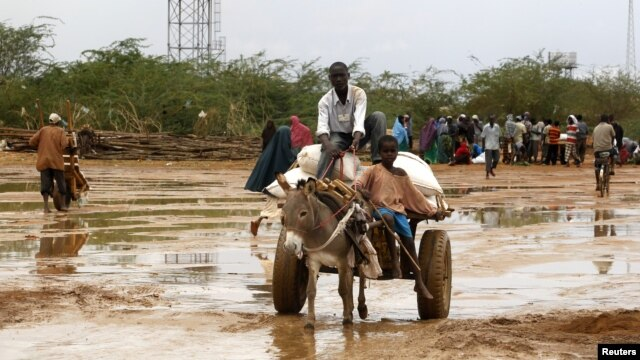 Newly arrived Somali refugees ride a donkey along the street at the Ifo Extension refugee camp in Dadaab, near the Kenya-Somalia border, October 19, 2011.