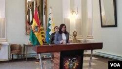 La actual canciller boliviana, Karen Longaric Rodríguez, ofreció una rueda de prensa el viernes 13 de diciembre de 2019, en La Paz, Bolivia.