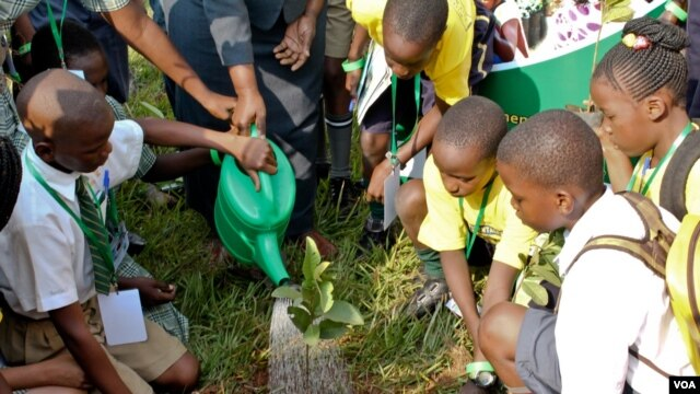 A young delegate plants a seedling at the end of the International Children's Climate Change Conference, Kampala, Uganda, July 12, 2014. (Hilary Heuler / VOA News)