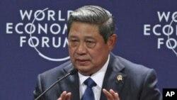 印尼总统苏西洛周日在世界经济论坛上讲话
