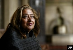 FILE- Iraqi-British architect Zaha Hadid poses in West Hollywood, California.