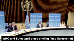 Press briefing on Pandemic Treaty with WHO general director Dr Tedros and European council president Charles Michel