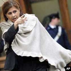 Souad Sbai, a lawmaker from the People of Freedom party, is shown as she leaves Montecitorio palace, headquarters of the Italian Parliament in Rome (File)