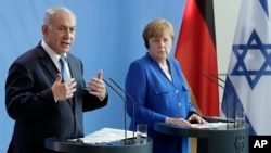 德國總理默克爾與以色列總理內塔尼亞胡4號會談後舉行聯合記者會。
