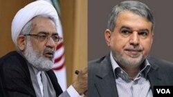 صالحی امیری وزیر ارشاد (راست) و منتظری دادستان کل ایران