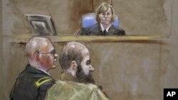 法庭素描圖像顯示﹐美國陸軍心理醫生尼達爾.哈桑少校出席庭審。