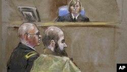 La jueza, coronela Tara Osborn,arriba, el mayor Nidal Malik Hasan, derecha, y el abogado defensor, teniente coronel Kris Poppe aparecen en esta ilustración del juicio contra Hasan.
