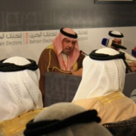 Shaikh Khalid bin Ali Al Khalifa explaining election procedures, 22 Oct 2010