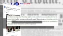 Manchetes Americanas 21 Outubro: Clinton e Trump trocaram anedotas à conta um do outro