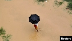 A man uses an umbrella to protect himself from rain as he walks through the flooded banks of river Ganga in the northern Indian city of Allahabad, Aug. 4, 2014.