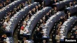 Members of the European Parliament take part in a voting session in Strasbourg, France, April 14, 2016.