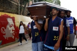 FILE - Relatives and basketball teammates of a crime victim carry his coffin prior to his burial in Caracas, Venezuela, Nov. 25, 2015. A non-governmental group reported 27,875 violent deaths in Venezuela in 2015.