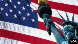 美国国旗与自由女神像