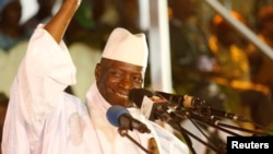 FILE - Yahya Jammeh smiles during a rally in Banjul, Nov. 29, 2016. He initially conceded defeat following the Dec. 1 presidential election, only to make a dramatic about-face a week later.