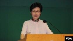 香港特首林鄭月娥2018年10月10日在特區政府總部的記者會上(美國之音記者申華拍攝)