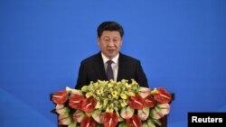 28일 중국 베이징 댜오위타이 국빈관에서 열린 '제5차 아시아 교류 및 신뢰구축회의(CICA)' 개막식에서 시진핑 중국 국가주석이 연설하고 있다.