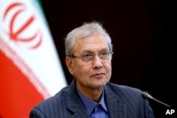 FILE - Iran's government spokesman Ali Rabiei speaks during a press briefing in Tehran, Iran, July 7, 2019.