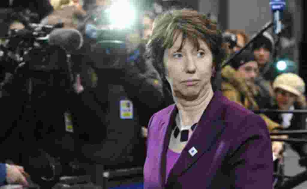 European Union foreign policy chief Catherine Ashton arrives for an EU summit in Brussels, February 04, 2011
