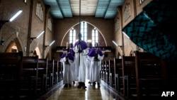 Une préparation de messe à Kinshasa, le 7 septembre 2017.