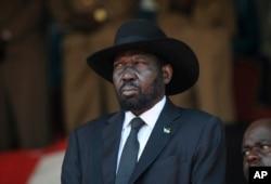 FILE - South Sudan's President Salva Kiir is seen in the capital Nairobi, Kenya, Feb. 11, 2020.