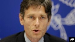 FILE - Assistant Secretary for Democracy, Human Rights, and Labor Tom Malinowski speaks at a press conference in Manama, Bahrain, Dec. 4, 2014.