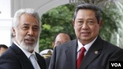 Presiden Susilo Bambang Yudhoyono menyambut kedatangan Perdana Menteri Timor Leste Xanana Gusmao di Istana Negara, Selasa (22/3).
